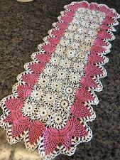"""True Vintage Hand Crochet White & Pink Pineapple Edge Table Runner 13 1/2"""" X 36"""""""