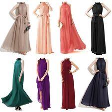 Women Elegant Maxi Chiffon Evening Party Gown Prom Long Dress With Belt
