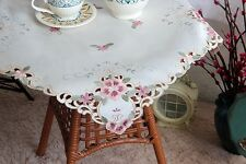 """Pretty Pink Flower Embroidery Cutwork Ivory Table Topper 22"""""""