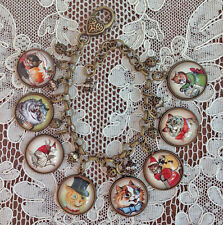 Louis Wain Cats Picture Glass Dome Brass Charm Bracelet Handmade Vintage Art