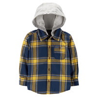 Carter's Toddler Boys Hooded Plaid Cotton Shirt, Size 4T. Retail $26.00