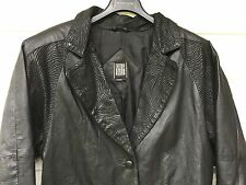 Greg Bell 100% Leather Jacket Small Mens Black Long Tiger Stripes Lapel 3 Button