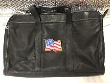 Unbranded Soft Black Leather Laptop Bag / Case Embroidered American Flag