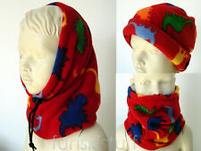 Kids BOYS dinosaur dino animal red SNOOD neck warmer balaclava scarf hat school
