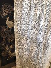 "Scottish Cream Cotton Lace Curtain Panelling Yardage 54"" Portia Period design"