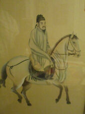 Vintage Asian Chinese Watercolor on Silk Painting Tang Horse Framed Chop Mark!