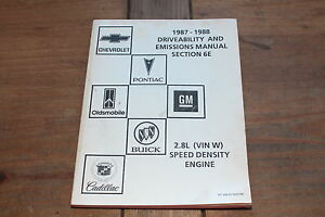 1987-1988 Driveability Emissions 2.8L Speed Density Engine Chevy GM Shop Manual