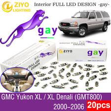 20 Bulbs Deluxe White LED Interior Light Kit For 2000-2006 GMT800 GMC Yukon XL