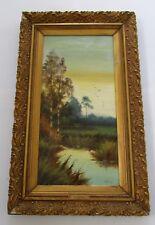 Antique H. Adams Aesthetic Movement Landscape Oil Painting