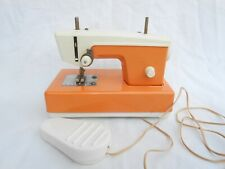 Vintage Crystal Japan Sewing Machine Orange Foot Pedal Battery Operated Works T3