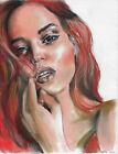 original drawing 24x32 cm 183HO art samovar modern pastel female portrait Signed