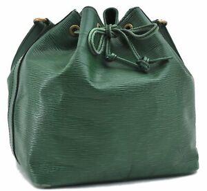 Authentic Louis Vuitton Epi Petit Noe Green Shoulder Bag M44104 LV C8673
