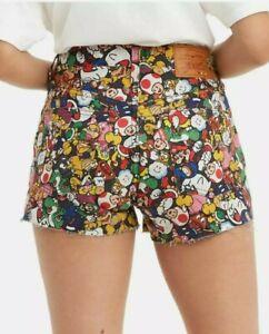 Womens Sz 28 Levis X Super Mario Nintendo 501 Original Jean Shorts