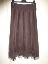 Per Una size 10 Regular brown lined skirt sheer lined applique