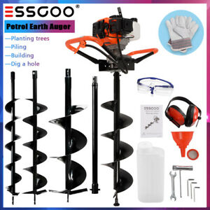 """52CC Earth Auger 2-Stroke Gas Powered Post Hole Digger Machine 4"""" 6"""" 8"""" Bits"""