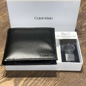 Calvin Klein Wallet Men Black Leather Bifold Passcase Key FOB RFID Gift Set NEW