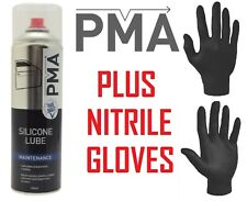 PMA Silicone Lubricant 500ml & Pair Black Nitrile Gloves- Packs Of 1,3,6,12 Cans