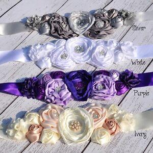 Beauty Kids Dress Belt Satin Silk Flower Sash Belt Wedding Flower Girl Belt