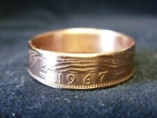 Handmade UK coin ring - 1967, size U (US 10 1/4), (R1060)