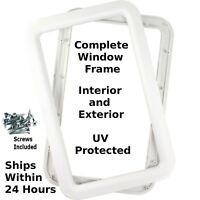 White RV Camper Trailer Entry Entrance Door Window Frame Interior & Exterior