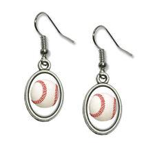 Baseball Ball - Novelty Dangling Drop Oval Charm Earrings