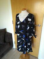 Ladies I SCENERY Dress Size 16 Black Blue Smart Party Evening Wedding