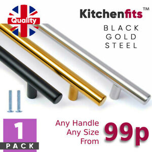 Kitchen Cupboard Cabinet T-Bar Door Handle Black or Stainless Steel 96 128 160mm