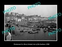 OLD LARGE HISTORIC PHOTO OF PORTSTEWART DERRY IRELAND, VIEW OF HARBOUR c1900 1