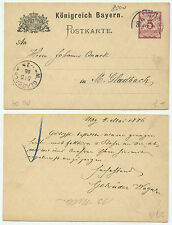 36688 - Bayern Ganzsache P 30 - Nürnberg 4.5.1886 nach M.Gladbach