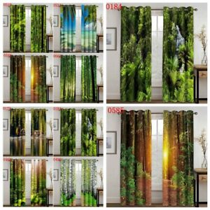 Green Forest Tree Natural Window Curtains Window Drapes Living Room Home Decor