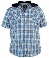 D555 Mens Big King Size Short Sleeve Checkered Shirt With Hood Sizes XL-6XL