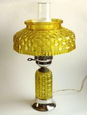Vintage Yellow Plastic Student Hurricane Electric Table Lamp Fun Faux Glass