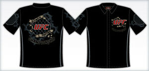 """UFC Shirt MMA Fighting Black Embroidered Logos Adult Sizes """"BLOWOUT SALE"""""""