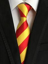Classic Mens Necktie Fancy Silk Yellow Red Striped Ties Wedding Business XT-062
