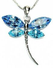 Aqua Blue w Swarovski Crystal  DRAGONFLY Bridal Wedding Jewelry Pendant Necklace