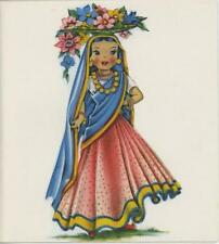 VINTAGE DOLL GIRL INDIA COSTUME FLOWER PRINT 1 DRESS UP GIRL VANITY MAKE UP CARD