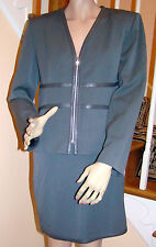 New with Orig. Tags FITELLE PARIS Grey Jacket/Skirt with Leather Trim SZ 6/8