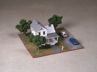 Z Scale 2 Story White Farm House with front porch and silver tin roof diorama