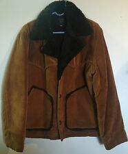 True Vintage Venture Original Brown Corduroy Faux Fur Western Coat Jacket Japan