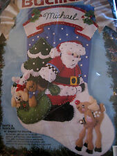 Bucilla Christmas Felt Applique Holiday Stocking Kit,SANTA & RUDOLPH,83013,18""