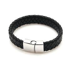 Man Bracelet Leather Braided Black