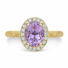 14k Yellow Gold Oval Purple Amethyst Diamond Ring Beaded Band Solitaire Natural