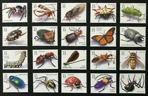 1999 - 33¢ - Scott #3351a-t - INSECTS AND SPIDERS - Set of 20 Singles - Mint NH