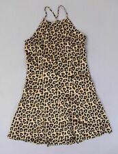 By The Way Women's Lined Sadie Halter Skater Dress AB3 Leopard Medium NWT $66
