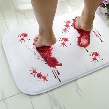 HK- Bathmat Scare Your Friends Bloody Footprint Bath Bathroom Mat Nonslip Rug Pr