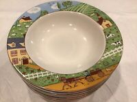5 Sango COUNTRY ROAD 4883 Stoneware Farm Scene Animals Soup Bowls Farmhouse