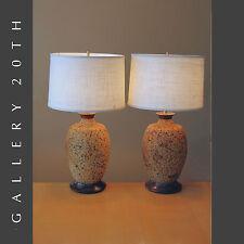 EPIC! PAIR OF MID CENTURY MODERN ATOMIC CORK TABLE LAMPS! Eames Vtg Lighting 50s