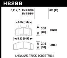 Hawk Disc Brake Pad-RWD Front for Chevrolet / GMC / Dodge Ram 2500 # HB296Y.670