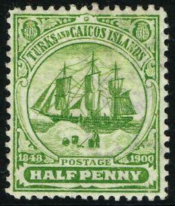SG 101 TURKS & CAICOS ISLANDS 1900 - HALFPENNY GREEN - MOUNTED MINT