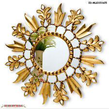 New! Round Decorative  Mirror - Peruvian Sunburst frame covered with Gold leaf
